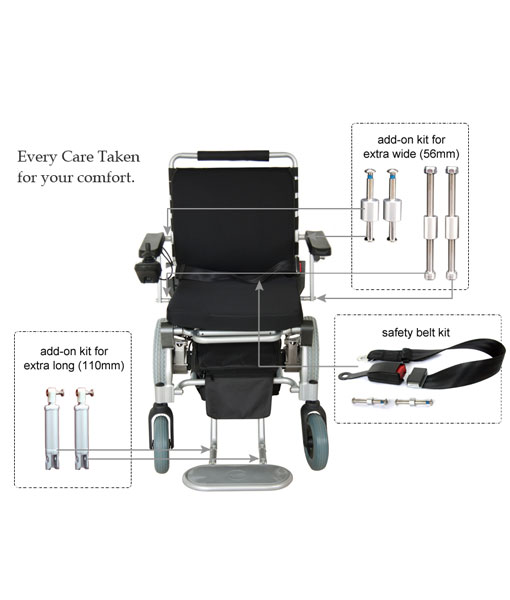 Travel Lite Electric Folding Power Chair - Phosphate Lithium Battery 16